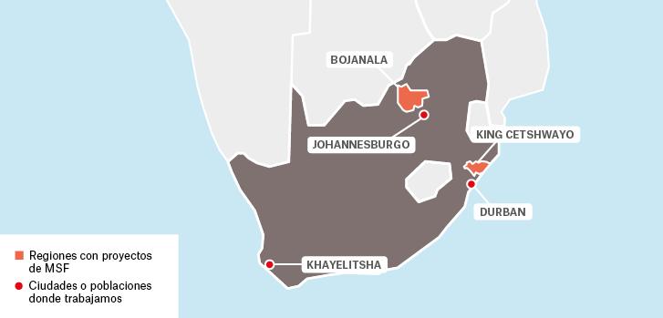 Mapa de los proyectos de Médicos Sin Fronteras en Sudáfrica.