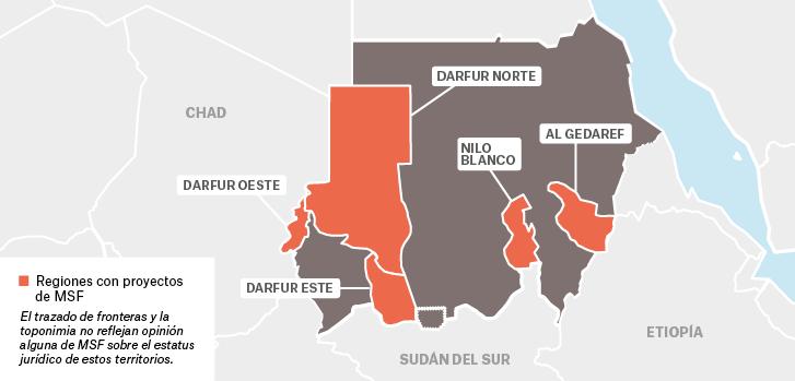 Mapa de los proyectos de Médicos Sin Fronteras en Sudán.