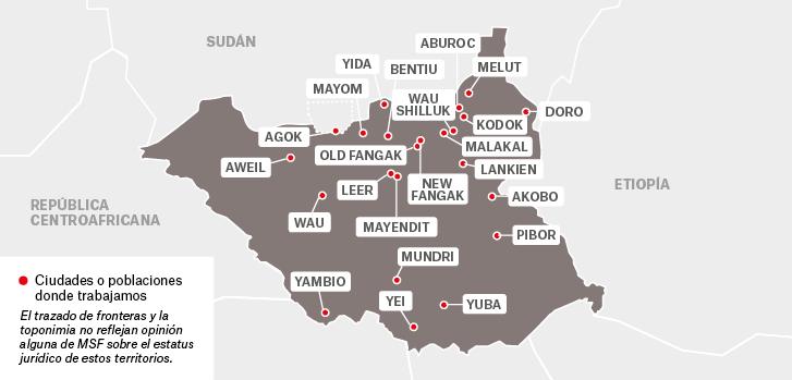 Mapa de los proyectos de Médicos Sin Fronteras en Sudán del Sur.