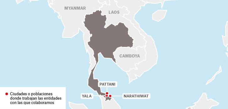 Mapa de proyectos de Médicos Sin Fronteras en Tailandia : Pattani Yala Narathiwat  Camboya Laos Myanmar  Ciudades o poblaciones donde trabajan las entidades con las que colabora MSF