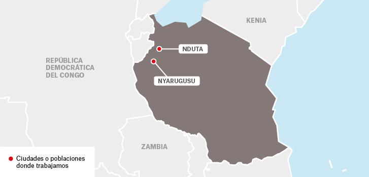 Mapa de los proyectos de Médicos Sin Fronteras en Tanzania.