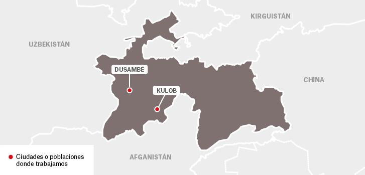 Mapa de los proyectos de Médicos Sin Fronteras en Tayikistán.