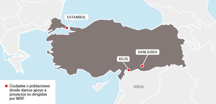 Mapa de los proyectos de Médicos Sin Fronteras en Turquía.