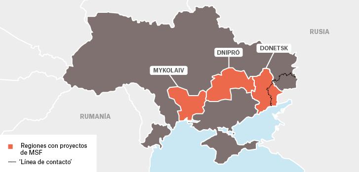 Mapa de los proyectos de Médicos Sin Fronteras en Ucrania.