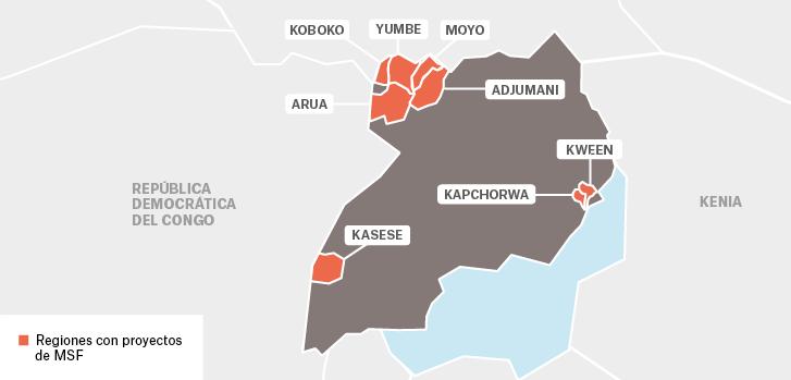 Mapa de los proyectos de Médicos Sin Fronteras en Uganda.