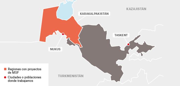 Mapa de los proyectos de Médicos Sin Fronteras en Uzbekistán.