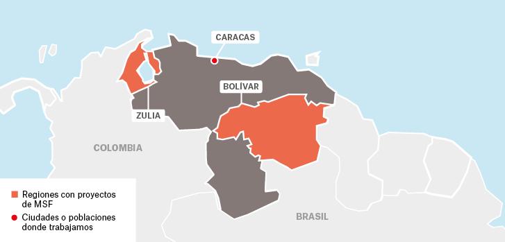 Proyectos de Médicos sin fronteras en Venezuela : Caracas Bolívar Zulia  Colombia Brasil   Ciudades o poblaciones donde trabajamos