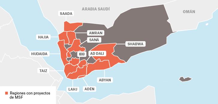 Mapa de los proyectos de Médicos Sin Fronteras en Yemen.