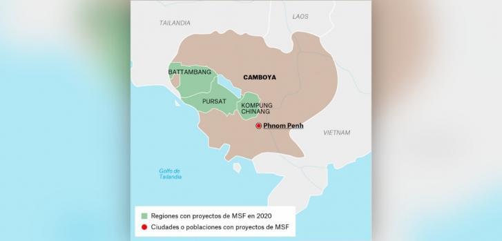 Mapa de los proyectos de Médicos Sin Fronteras en Camboya.