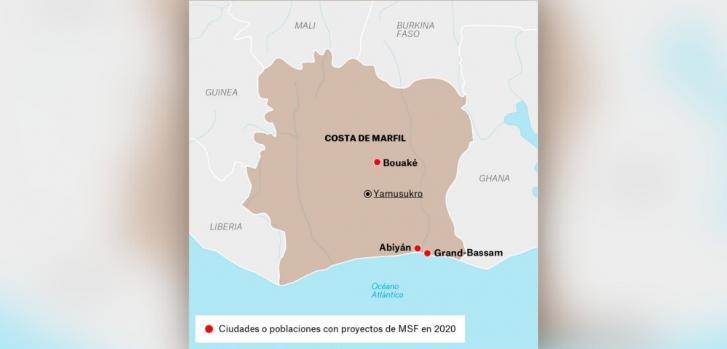 Mapa de los proyectos de Médicos Sin Fronteras en Costa de Marfil.