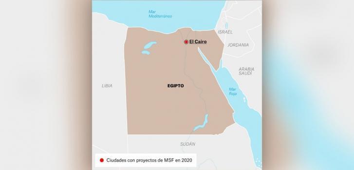 Mapa de los proyectos de Médicos Sin Fronteras en Egipto.