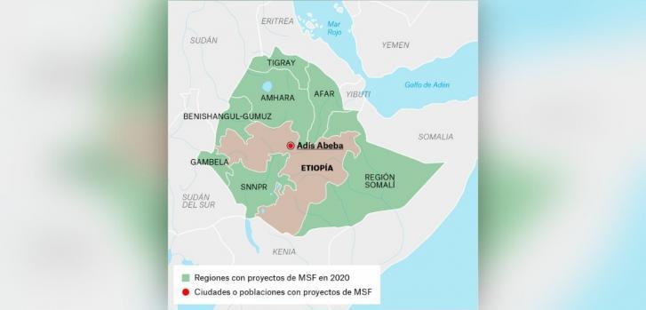 Mapa de los proyectos de Médicos Sin Fronteras en Etiopía.