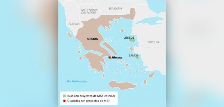 Mapa de los proyectos de Médicos Sin Fronteras en Grecia.