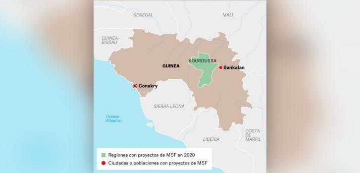 Mapa de los proyectos de Médicos Sin Fronteras en Guinea.