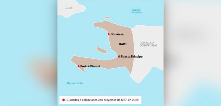 Mapa de los proyectos de Médicos Sin Fronteras en Haití.