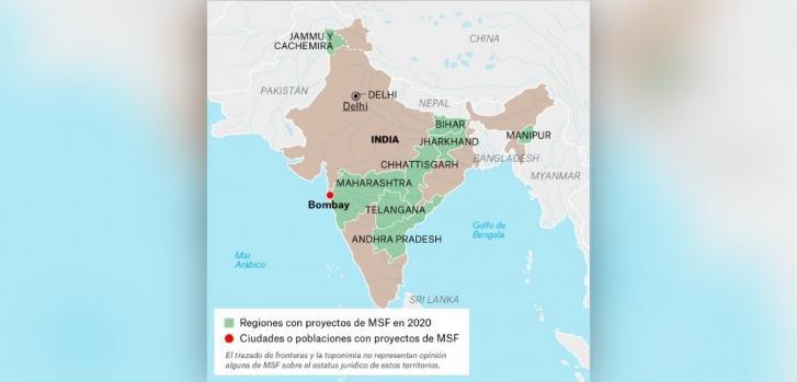 Mapa de los proyectos de Médicos Sin Fronteras en India.