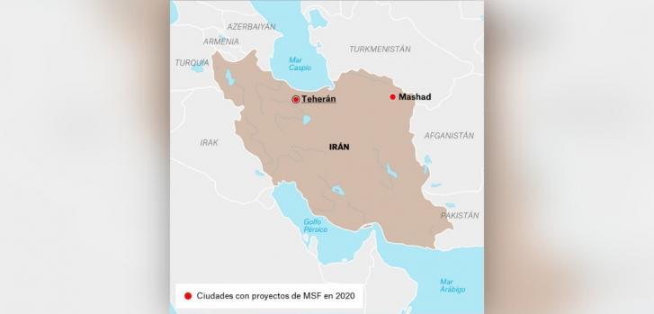 Mapa de los proyectos de Médicos Sin Fronteras en Irán.