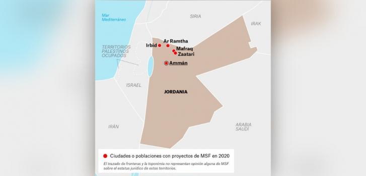 Mapa de los proyectos de Médicos Sin Fronteras en Jordania.