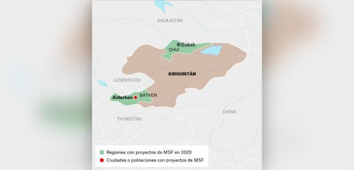 Mapa de los proyectos de Médicos Sin Fronteras en Kirguizistán.