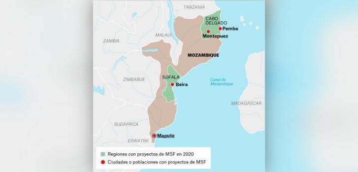 Mapa de los proyectos de Médicos Sin Fronteras en Mozambique.
