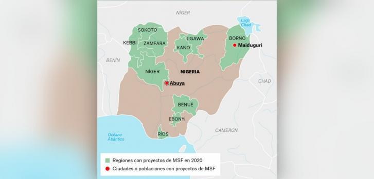 Mapa de los proyectos de Médicos Sin Fronteras en Nigeria.