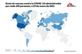 Dosis de vacuna contra el COVID-19 administradas por cada 100 personas a 22 de enero de 2021