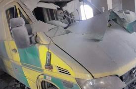 Ambulancia dañada en el hospital de Hama Central/Sham, en la gobernación de Idlib, Siria. ©MSF